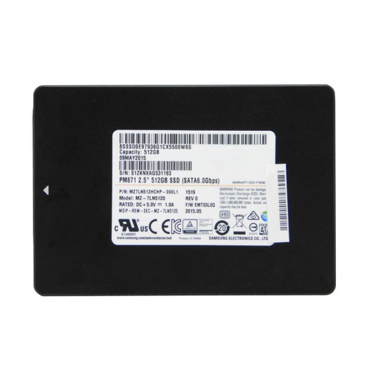 Samsung PM871 Series 512GB TLC SATA 6Gbps Mainstream Endurance (AES-256) 2.5-inch Internal Solid State Drive (SSD)